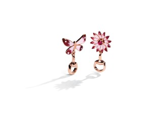 Gucci Flora earrings in 18kt pink gold, enamel and ruby