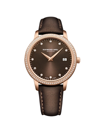 raymond weil toccata brown dial and pink gold